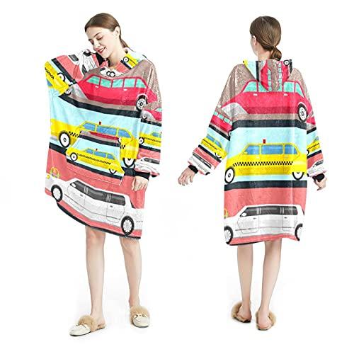 LENNEL Manta Sudadera con capucha Suave bata con capucha Mantas calientes Sudadera Talla única para todos los adultos Pullover Alargar el coche