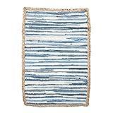 Vidal Regalos Alfombra Vaquera de Yute Trenzada Etnica Rustica Azul Claro y Blanco 90 cm