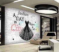 写真の壁紙人格のレンガの壁のファッションの小さな黒いドレスの衣料品店のツールの背景の壁リビングルームの壁の芸術の壁の装飾の家の装飾のための大きな壁壁画シリーズの壁紙-157.5x110.2inch/400cmx280cm