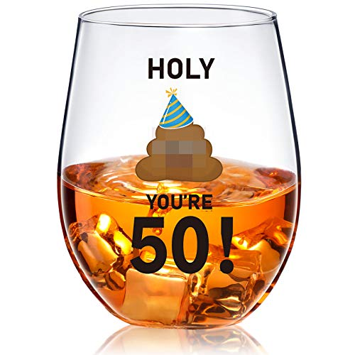 50th Birthday Stemless Wine Glass Holy You