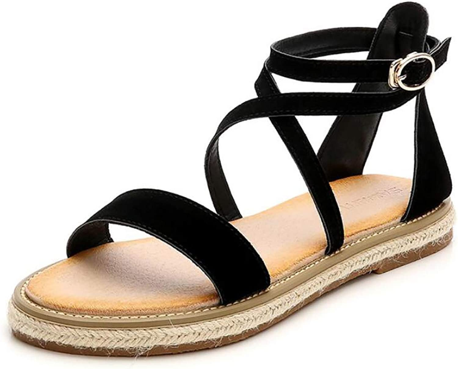 Bohemia Simple Flat Sandals Slippers Fashion Casual Cross Strap Buckle Non-Slip Beach Wedding Flip-Flops,Black,40
