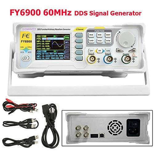 DOMINTY Funktionsgenerator FY6900 Doppelkanal DDS Funktion Arbiträrsignalgenerator Sinuswelle/Rechteckwelle/Dreieckswelle/Impulswelle/Sägezahnwelle / 60MHz 0,01-100 MHz TFT Display 250 MSa/s