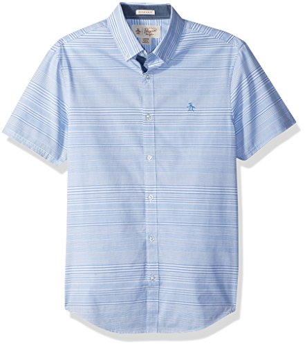Original Penguin Men's Short Sleeve Horizontal Stripe Shirt, french blue, Small