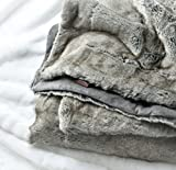 Eikei Luxury Faux Fur Throw Blanket Super Soft Oversized Thick Warm Afghan Reversible to Plush Velvet in Tan Grey Wolf, Cream Mink or Blush Chinchilla, Machine Washable 60 by 70 Inch (Taupe Gray)
