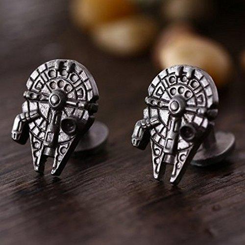 Manschettenknöpfe aus Metall mit Form Millenium Falcon Star Wars