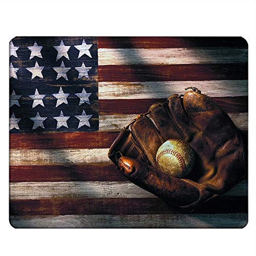 NICOKEE Flag Rectangle Gaming Mousepad Vintage American Flag Baseball Glove Mouse Pad Mouse Mat for Computer Desk Laptop Office 9.5 X 7.9 Inch Non-Slip Rubber