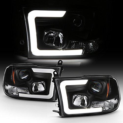 ACANII - For Black 2009-2018 Dodge Ram 1500 2500 3500 LED Tube Projector Headlights Headlamps Driver & Passenger Side