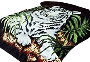 "White Tiger Throw Animal Blanket, for Traveling, Hiking, Camping , Full Queen , TV, Cabin, Couch, Bed Blanket. 75""Wx90""H . 3.5LBS"