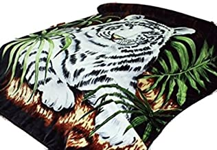 White Tiger Throw Animal Blanket, for Traveling, Hiking, Camping , Full Queen , TV, Cabin, Couch, Bed Blanket. 75