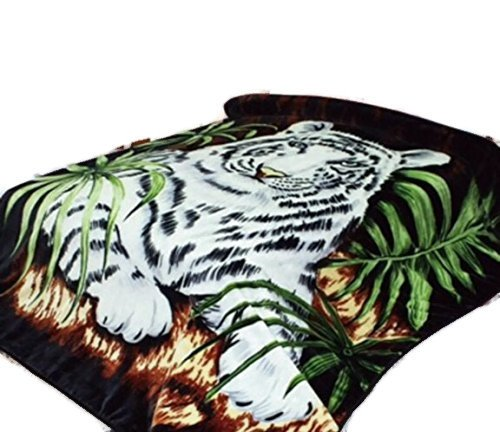 """White Tiger Throw Animal Blanket, for Traveling, Hiking, Camping , Full Queen , TV, Cabin, Couch, Bed Blanket. 75""""Wx90""""H . 3.5LBS"""