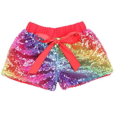 Cilucu Baby Girls Shorts Toddler Sequin Shorts Sparkles on Both Sides Red Rainbow 4T