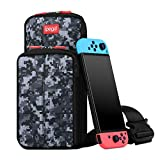SUNJOYCO Portable Travel Carrying Case Compatible with Nintendo Switch, Durable Protective Shoulder Bag Large Capacity Switch Accessories Backpack for Outdoor