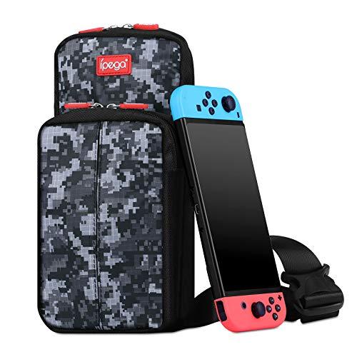 Sunjoyco Tragbare Reise-Tragetasche, kompatibel mit Nintendo Switch, strapazierfähige schützende Schultertasche mit großer Kapazität, Schalter-Zubehör Rucksack für Outdoor