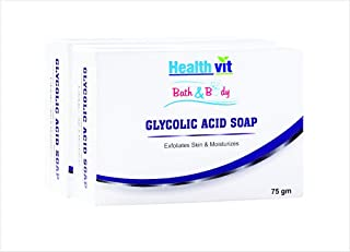 Healthvit Bath and Body Glycolic Acid Soap, 75g (Pack of 2)