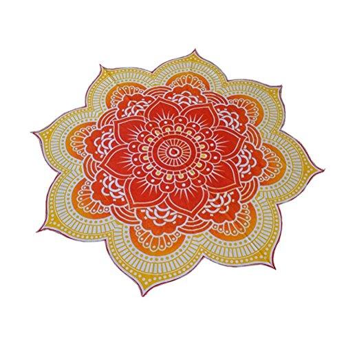 Pixnor Mandala Runde Lotus Strand werfen Gobelin Decke Wolldecke Hippie Boho Zigeuner Tischdecke Strandtuch Runde Yoga Matte gelb
