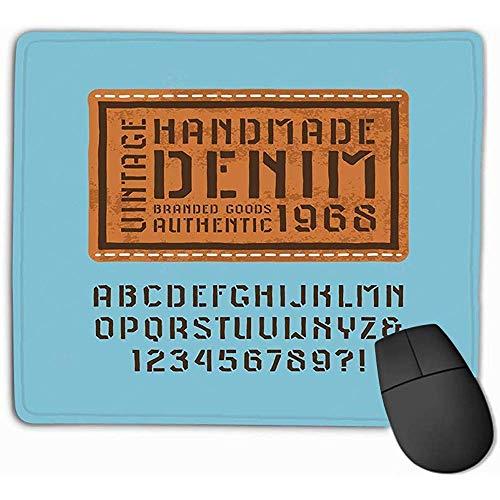 Extended Mouse Mat, muismat sjabloon plaat Sans Serif lettertype stijl handgemaakte Denim Label Design Print blauwe achtergrond Rechthoek Rubber Mousepad 25X30Cm