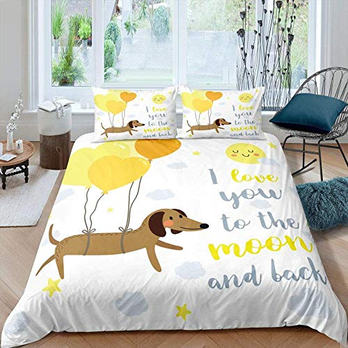 Rvvaceo Double Bed Duvet Covers Set Microfiber Silky Duvet Covers Set Soft Hypoallergenic, Easy Care 1 Quilt Cover+2 Pillowcases-Single (135 X 200 Cm) Animal Dachshund Dog Yellow Balloon Pattern