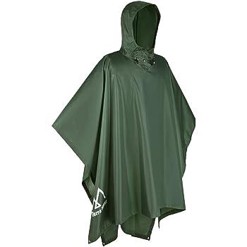 Terra Hiker Waterproof Rain Poncho, Hiking Rain Jacket, Reusable Rain Coat for Outdoor Activities