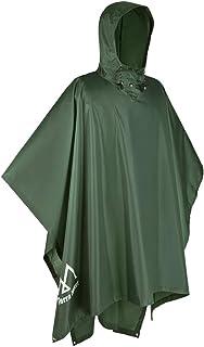 Terra Hiker Waterproof Rain Poncho, Hiking Rain Jacket for Adults, Men/Women Reusable Rain Coat with Drawstring Hood and Pocket for Outdoor Activities