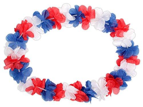 Collier Hawaien Fleur Guirlande Bleu Blanc Rouge Accessoires et Décorations Hawaienne Allez Les Bleus - Longeur 100 cm - Diamètre des Fleurs: 5 cm (hk-36)