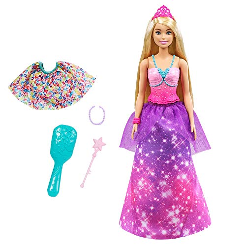 Barbie Dreamtopia 2-in-1 Princess to Mermaid Fashion Transformation Doll (Blonde, 11.5-in) with 3 Looks and Accessories, for 3 to 7 Year Olds