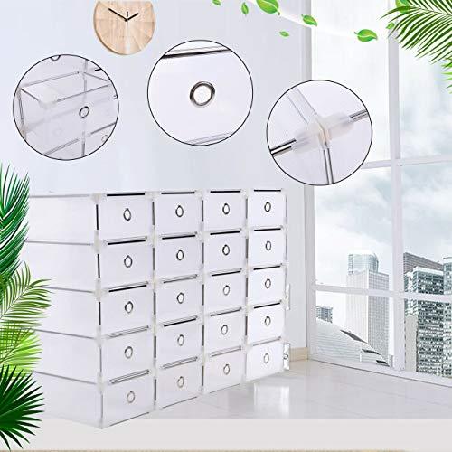 Samger 20 Unids Caja de Almacenamiento de Zapatos Apilable Plegable Plástico Holder Armario Caja Organizador Transparente Cajón Claro