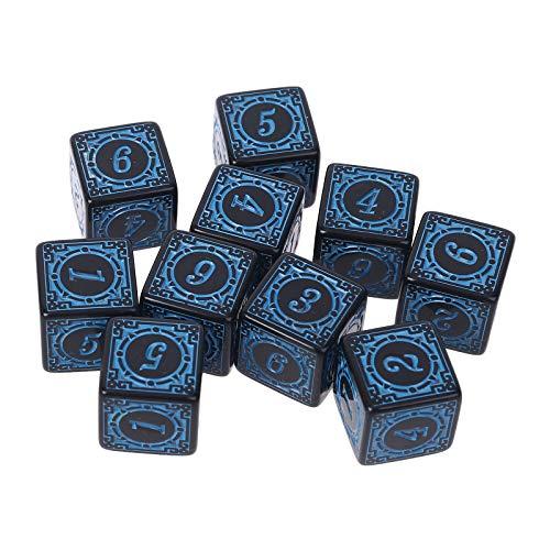 BOBEINI 10 Piezas D6 Dados poliédricos Cuadrados con Bordes números 6 Lados Dados Cuentas Tablero de Mesa Azul