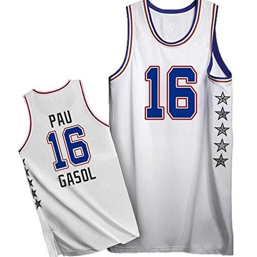 Camiseta de Baloncesto NBA para Hombre, Retro Jersey Swingman Basketball Camisetas, PAU Gasol # 16, Chaleco de Gimnasia Top Deportivo Ropa, S-XXL, Z048MK (Color : A, Size : XL)