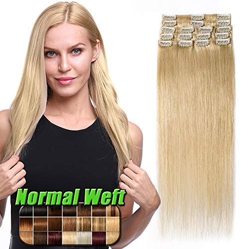 Extension Capelli Veri Clip Biondi 50cm 8 Ciocche 100% Remy Human Hair Extensions Capelli Naturali Lisci Umani 70g #24 Biondo Naturale