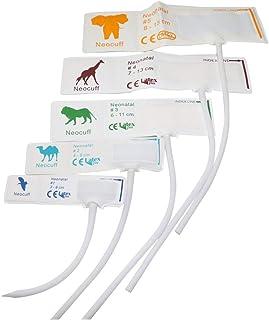 5 unidades por paquete de 5 tamaños desechables para presión arterial para neonato, material de TPU, tubo único, sin conectores