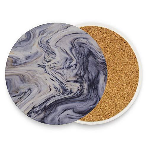 Weißgrau Marmortinte Acryl gemalte Wellen Textur Schreibtisch Untersetzer für Getränke Büro Schreibtisch Cup Untersetzer mit Keramik Stein und Kork Basis für Arten von Bechern und Tassen