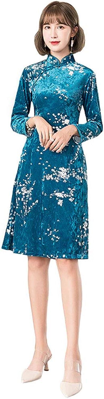 Autumn and Winter New Improved Velvet Cheongsam bluee Fashion Long Section LongSleeved Dress Danquet Show Cheongsam (color   bluee, Size   XL)