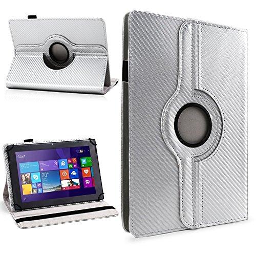 NAUC Schutzhülle für Ihr CSL Panther Tab 10 Hülle Tasche Carbon Cover Tablet Case, Farben:Silber