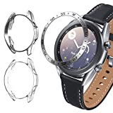 Yolovie (3 Pack) Compatible for Samsung Galaxy Watch3 41mm 45mm Bezel and Two Cases, Stainless Steel Dial Ring Protection, TPU Soft Protector Bumper Frame Accessories (Time 41mm Clear Silver)