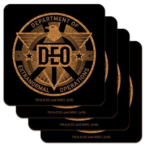 Supergirl TV-Serie DEO Department of Extranormal Operations Emblem Low Profile Neuheit Korkuntersetzer Set