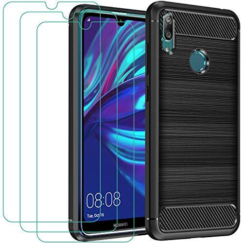 ivoler Funda para Huawei Y7 2019 + 3 Unidades Cristal Templado, Fibra de Carbono Negro TPU Suave de Silicona [Carcasa + Vidrio Templado] Ultra Fina Caso y Protector de Pantalla