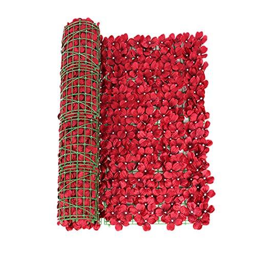 Pannelli per siepi di schermatura di edera artificiale Recinzione di fiori con supporto in rete Paravento per balcone privato Decorazione di viti per arredamento da esterno, giardino, cortile