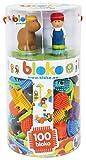 BLOKO - 503615 - Tube de 100 avec 4 Figurines 3D de la Ferme - Dès 12 Mois - Fabriqué en Europe - Jouet de Construction 1er âge