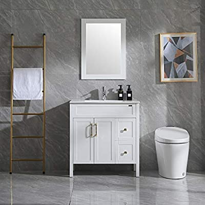 "Wonline 32"" Bathroom Vanity and Sink Combo Cabinet Undermount Ceramic Vessel Sink Chorme Faucet Drain with Mirror Vanities Set"