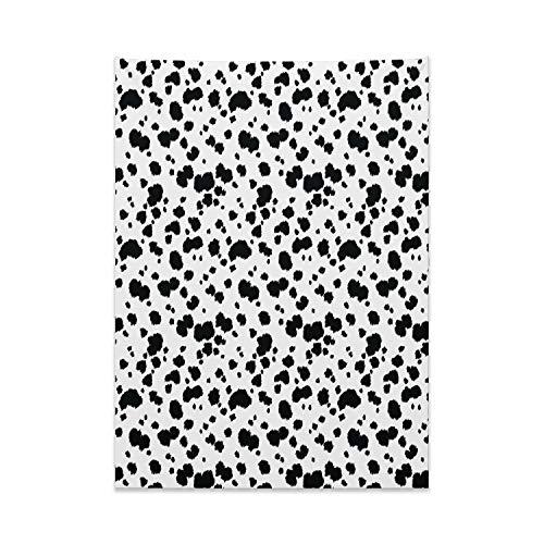ABAKUHAUS Tier Wandteppich und Tagesdecke, Dalmatiner Druck Textur, aus Weiches Mikrofaser Stoff Für den Wohn und Schlafzimmer Druck, 110 x 150 cm, Weiß und Schwarz