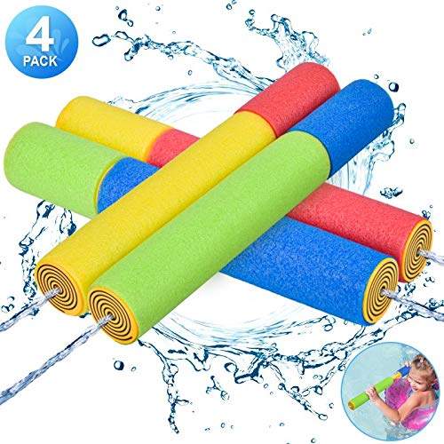 Kiztoys Water Gun for Kids, Foam Water Blaster Squirt Guns, 4-Pack Kids Outdoor Water Pool Toys,...