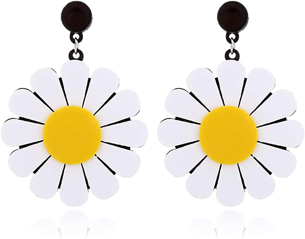 YOOE Acrylic Big Daisy Flower Dangle Earring. Exaggeration White Daisy Eardrop, Geometric Circle Semicircle Sun Flower Dangler Earring