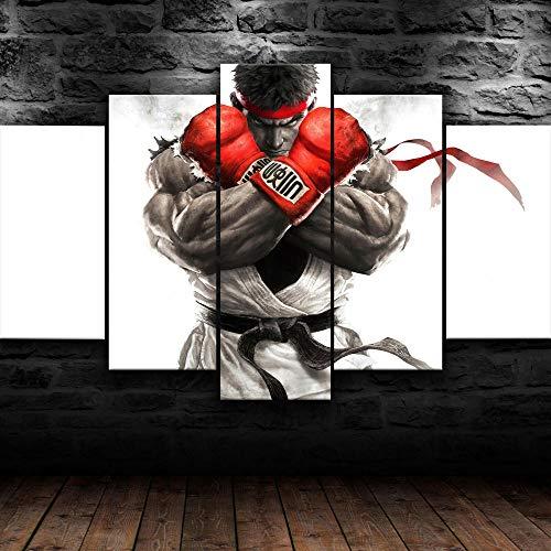 Cuadro Sobre Lienzo 5 Piezas Impresión En Lienzo Ancho: 150Cm, Altura: 100Cm Listo Para Colgar-Street Fighter V Ryu Juego En Un Marco
