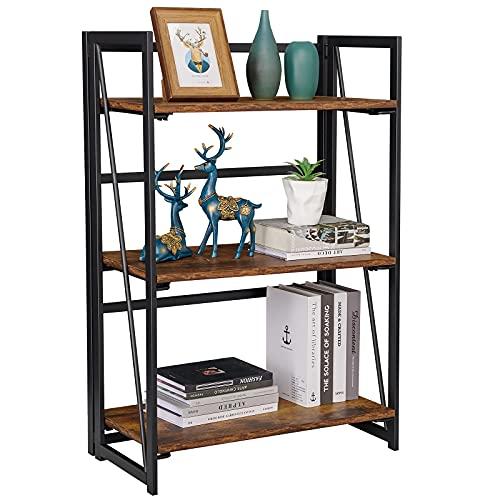 Coavas Folding Bookshelf Rack 3-Tiers Bookcase Home Shelf Storage Rack No-Assembly Industrial Stand Sturdy Shelf Organizer, Rustic Brown & Black