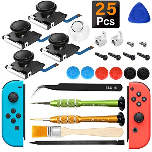 iiwey 4-Pack 3D Replacement Joystick Analog Thumb Stick for Switch Joy-Con Controller,2 Pack Joy-con Metal Latch, Include Y1.5 Screwdrivers,Joycon Joystick Replacement to Fix Drift Joy-con Stick