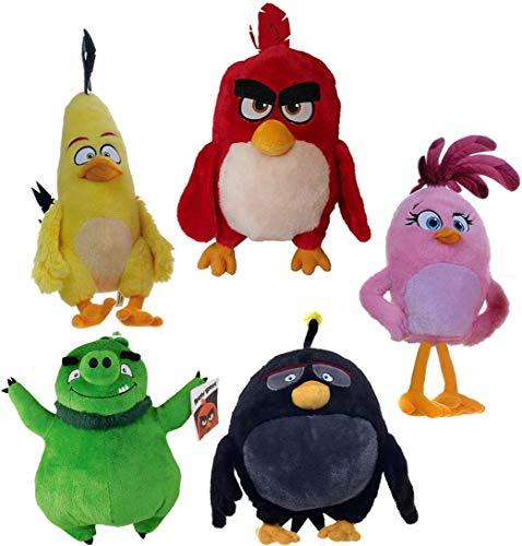 Angry Birds Conjunto Completo 5 Peluches Felpa 20cm Red Chuck Bomb Pig Stella Original Rovio