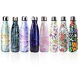 Newday1 Botella de Agua de Mantiene bebidas frías por 24h y calientes por 12h 500ML de doble pared con aislamiento de botella de agua de acero inoxidable SIN BPA water bottles,Cartoon