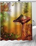 Duschgardine Zauberwald Du Duschvorhang Fenster 3D Digitaldruck Mit 180*200Cm Top Qualität Wasserdicht, Anti-Schimmel-Effekt 3D Digitaldruck Inkl. 12 Duschvorhangringe Für Badezimmer