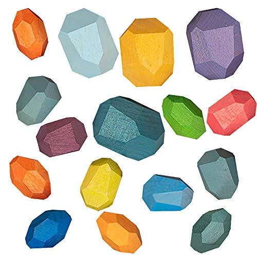 UXTX Balanciersteine aus Holz, Stapelspiel aus Holzsteinen, Farbiger Stein aus Holz, Holzspielzeug für Kinder, Puzzlespielzeug für Kinder, Heimdekoration (16PCS)