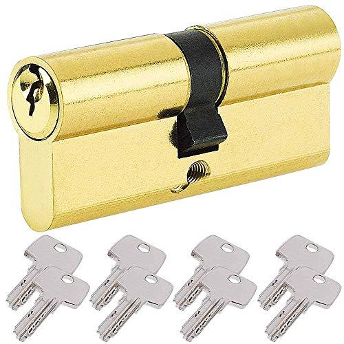 BETOY - Cilindro per porta con pomello serratura con chiave,con chiave, Oro, elemento sostitutivo resistente al trapano, disponibile in ottone e nichel 50/50(100mm)